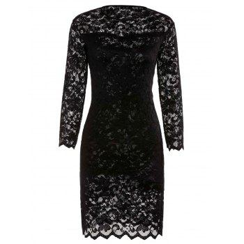 Solid Color 3/4 Sleeve Lace Round Neck Dress For Women