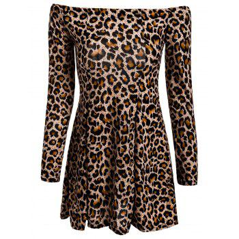 Sexy Long Sleeve Slash Collar Leopard Print Women's Dress