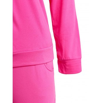 Active Emoji Printed Hooded Pullover Hoodie and Elastic Waist Pants Twinset For Women - ROSE M