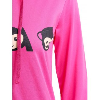 Active Emoji Printed Hooded Pullover Hoodie and Elastic Waist Pants Twinset For Women - XL XL