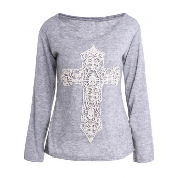 Casual Laced Crucifix Pattern Scoop Neck Long Sleeve T-Shirt For Women
