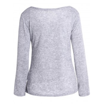 Casual Laced Crucifix Pattern Scoop Neck Long Sleeve T-Shirt For Women - GRAY XL