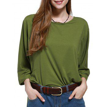 Chic Plus Size Pure Color Batwing Sleeve Women's Blouse