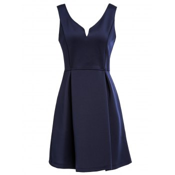 Women's Sleeveless Solid Color V-Neck A-Line Dress