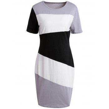 Brief Color Block Scoop Neck Short Sleeve Dress For Women