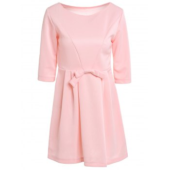 Women's Jewel Neck 3/4 Sleeve Solid Color Bowknot Decorated Dress