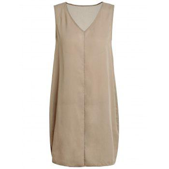 Brief Sleeveless V Neck Solid Color Women's Dress - COFFEE XL