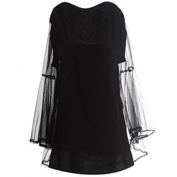 Charming V-Neck Bell Sleeve See-Through Black Chiffon Blouse For Women
