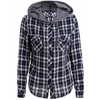 Plaid Printed Hooded Long Sleeve Buttoned Hoodie