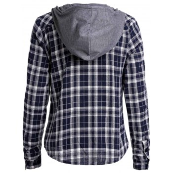Attractive Plaid Printed Hooded Long Sleeve Buttoned Hoodie For Women - DEEP BLUE XL