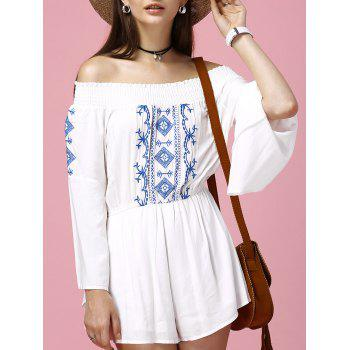 Ethnic Women's Off-The-Shoulder Flare Sleeves Embroidered Romper