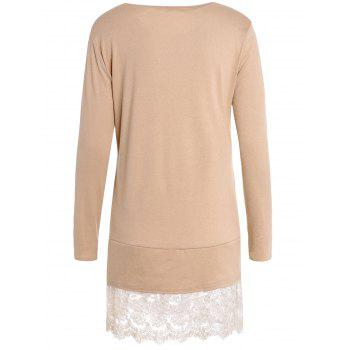 Sweet Laced Round Collar Long Sleeve Dress For Women - KHAKI XL