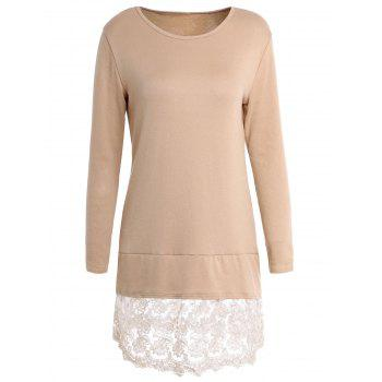 Sweet Laced Round Collar Long Sleeve Dress For Women