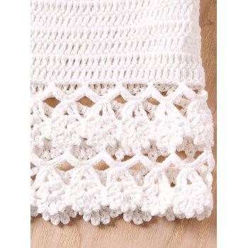 White Knitted Hollow Out Women's Beachwear - WHITE ONE SIZE(FIT SIZE XS TO M)