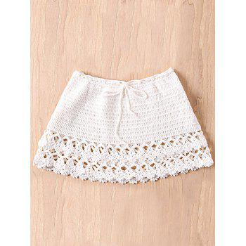 White Knitted Hollow Out Women's Beachwear