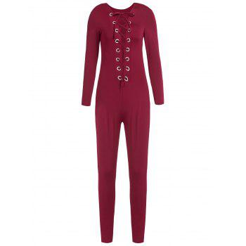 Sexy Round Neck Long Sleeve Slimming Hollow Out Women's Jumpsuit