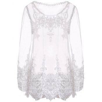 Sexy Round Neck Long Sleeve See-Through Spliced Women's Blouse - WHITE L