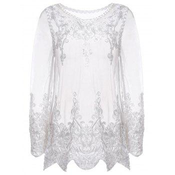 Sexy Round Neck Long Sleeve See-Through Spliced Women's Blouse