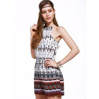 Plus Size Spaghetti Strap Tribal Romper - COLORMIX 3XL
