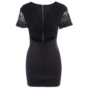 Low Cut Short Sleeve Hollow Out Bodycon Dress For Women
