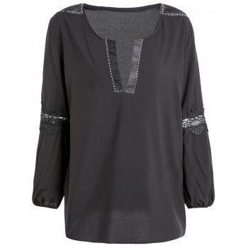 Stylish Long Puff Sleeve Loose-Fitting Hollow Out Women's Blouse - BLACK ONE SIZE(FIT SIZE XS TO M)