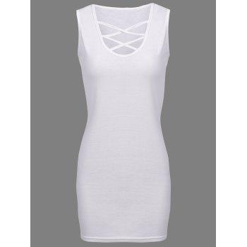 Elegant Plunging Neck Sleeveless Sheathy Criss-Cross Solid Color Women's Dress