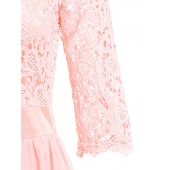 Chic 3/4 Sleeve Scoop Neck Cut Out Women's Maxi Dress - PINK S