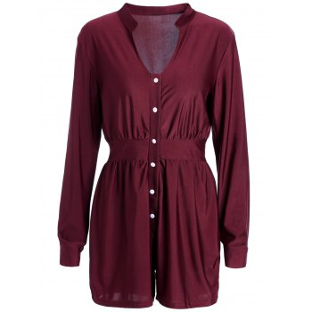 Trendy Plunging Neck Solid Color Long Sleeve Mini Shirt Dress For Women