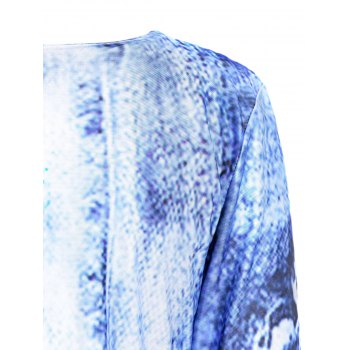 Chic Round Collar 3/4 Sleeve Faux Denim Printed Bodycon Dress For Women - BLUE L