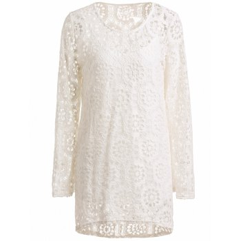 Stylish Long Sleeve Scoop Neck Crochet Lace Dress + Solid Color Tank Top Women's Twinset