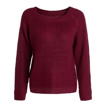 Scoop Neck Long Sleeve Sweater For Women