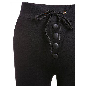 Casual Style Mid-Waisted Button Embellished Solid Color Drawstring Women's Pants - BLACK S