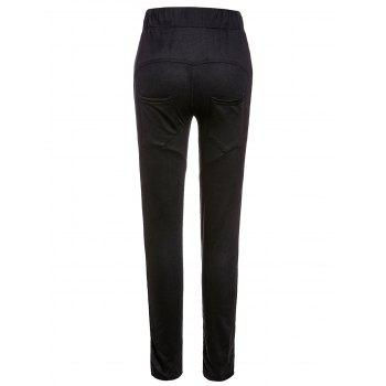 Casual Style Mid-Waisted Button Embellished Solid Color Drawstring Women's Pants - BLACK 2XL