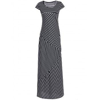 Short Sleeve Scoop Collar Striped Maxi Dress