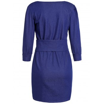 Stylish Women's Jewel Neck 3/4 Sleeve Bodycon Denim Dress - 2XL 2XL