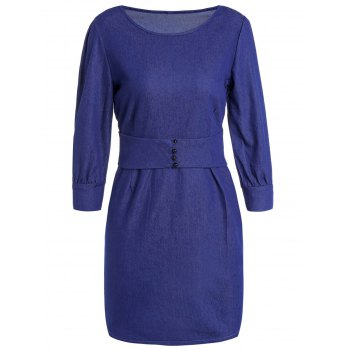 Stylish Women's Jewel Neck 3/4 Sleeve Bodycon Denim Dress