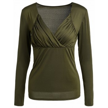 Sexy Sweetheart Neck Long Sleeve Solid Color Ruched Women's T-Shirt
