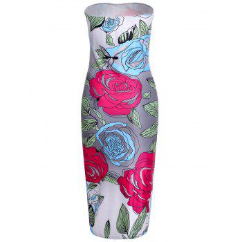 Sexy CStrapless olorful Floral Printed Bodycon Midi Dress For Women - COLORMIX L
