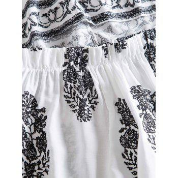 Stylish Women's Jewel Neck Short Sleeve Print Suit - WHITE S