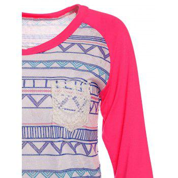 Chic Printed Lace Spliced ​​manches longues Baseball T-shirt pour les femmes - Rose L