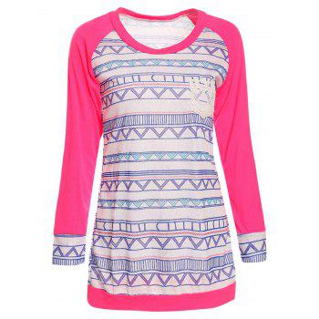 Chic Printed Lace Spliced Long Sleeve Baseball T-Shirt For Women