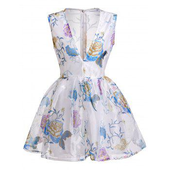 Sexy Plunging Neck Sleeveless See-Through Flower Pattern Women's Dress