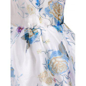 Plongeant Sexy Neck manches See-Through Flower Motif Dress - Blanc L