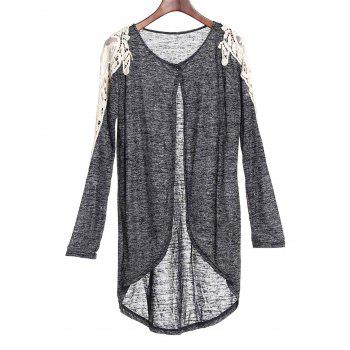 Casual Hollow Out Lace Spliced 3/4 Sleeve Gray Cardigan For Women