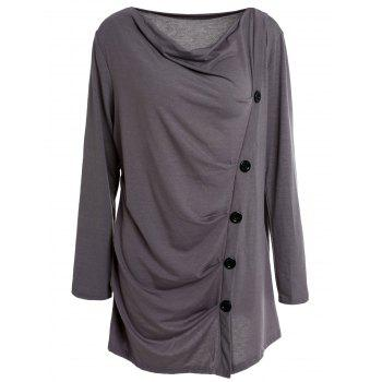 Stylish Long Sleeve Cowl Neck Solid Color Draped Women's T-Shirt