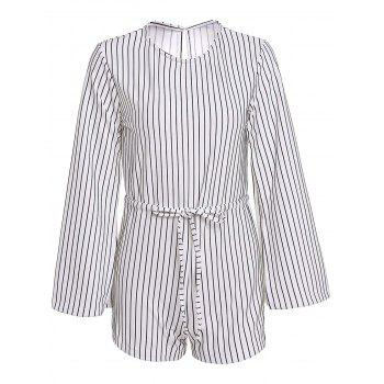 Stylish Round Neck Long Sleeve Striped Slit Women's Romper