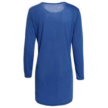 Brief Style 3/4 Sleeve Round Collar Loose-Fitting Solid Color Women's Dress - S S