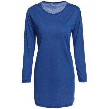 Brief Style 3/4 Sleeve Round Collar Loose-Fitting Solid Color Women's Dress - DEEP BLUE DEEP BLUE