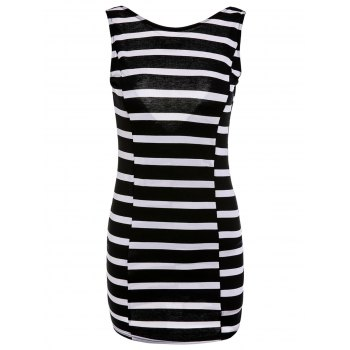 Endearing V-Shape Backless Bowknot Striped Bodycon Mini Dress For Women