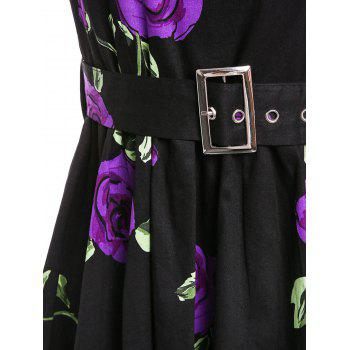 Retro Style Sleeveless Round Neck Roses Print Women's Ball Gown Dress - PURPLE S